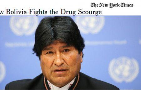 El periodico New York Times destaca lucha antidroga de Bolivia y confirma que es