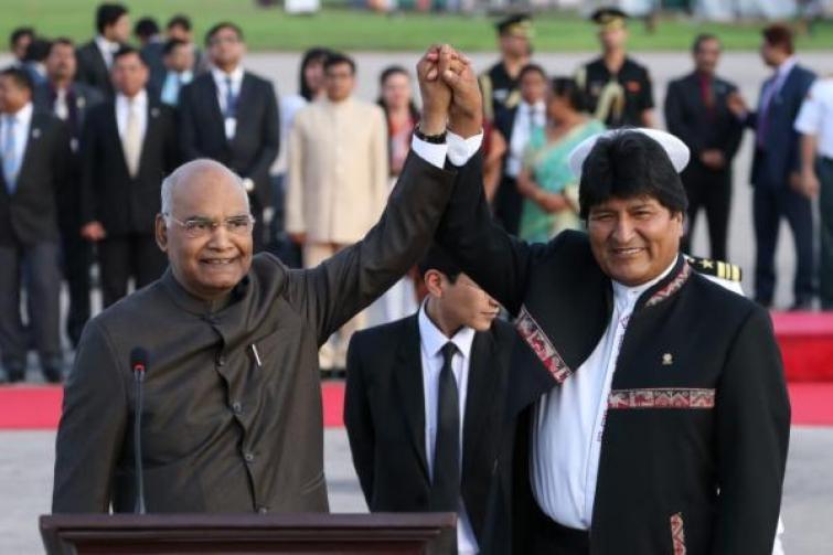 Presidente de India, Ram Nath Kovind llegó a Bolivia histórica visita oficial