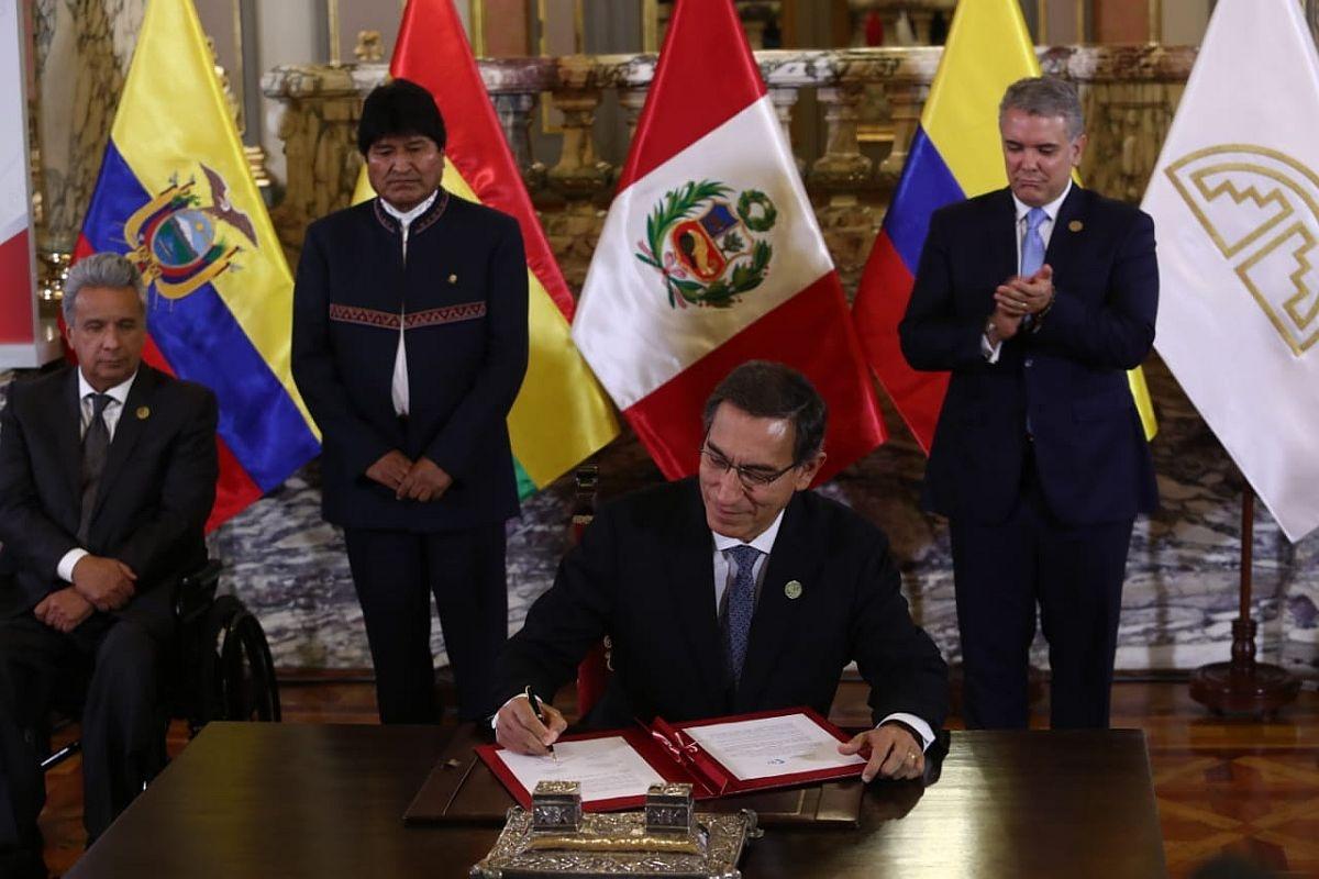 Bolivia asumió este domingo y por un año la Presidente Pro Témpore del bloque subregional Consejo Presidencial de la Comunidad Andina de Naciones (CAN) que cumplió 50 años
