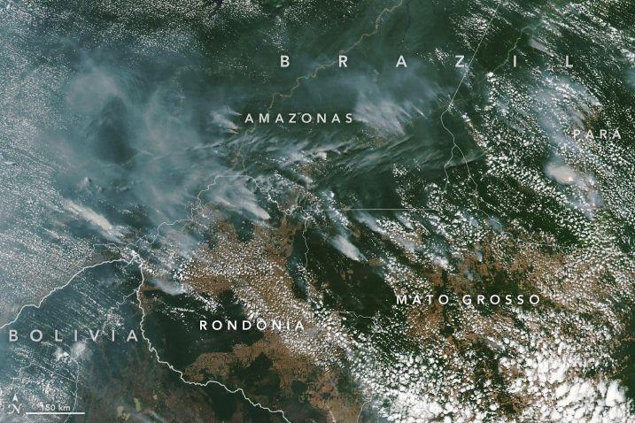 NASA muestra desde el espacio el arrasador incendio de la Amazonía