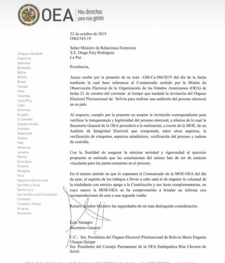 Gobierno solicita a la OEA auditoría a las actas de votación  y la Organización de Estados Americanos acepta ejecutar auditoría al proceso electoral boliviano con condición de que sus conclusiones sean vinculantes