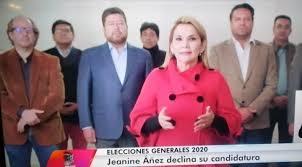 Jeanine Añez confirmó su decisión de dejar sin efecto su candidatura presidencial se esperaba una conferencia de prensa y lo hizo mediante vídeo grabado