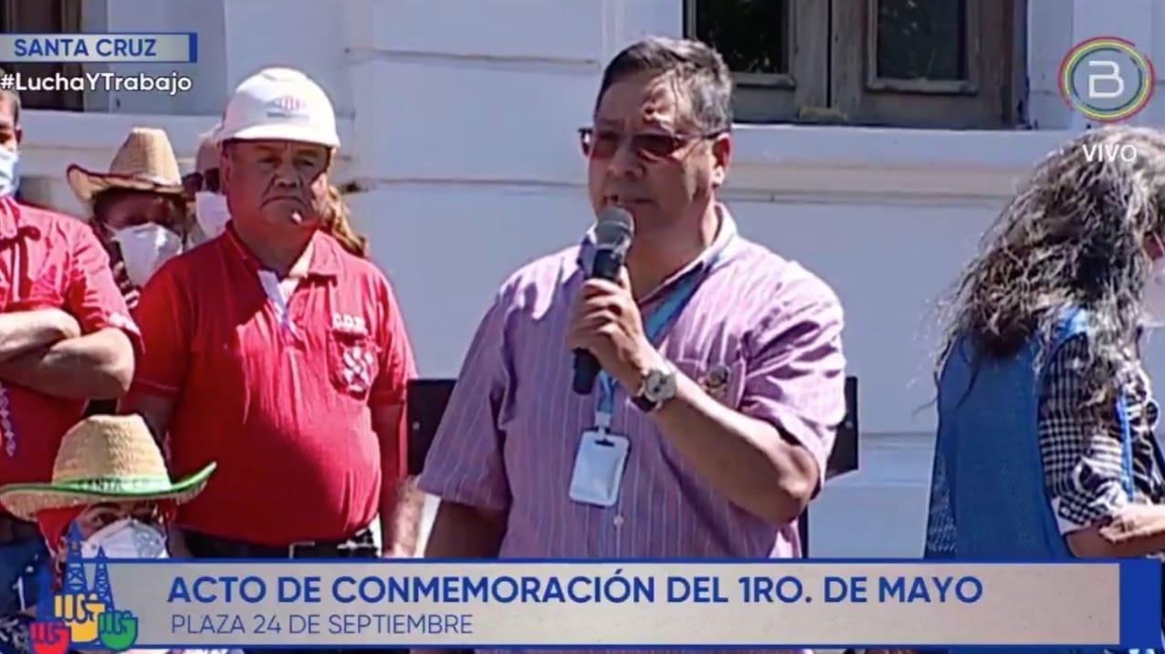 COB reafirmó en Santa Cruz compromiso de apoyo al presidente Luis Arce quien agradeció el respaldo y pidió fortalecer los sindicatos para hacer una trinchera de resistencia ante las intentonas golpistas de la derecha
