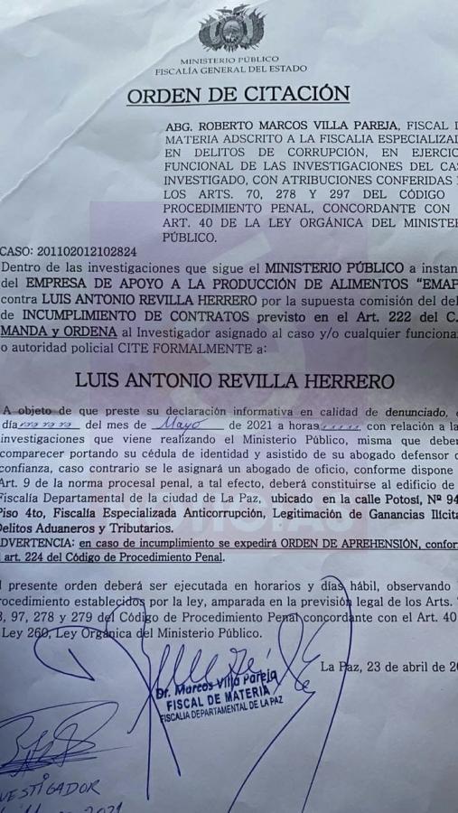 Por Incumplimiento de contratos con Emapa Fiscalía cita al exalcalde Luis Revilla