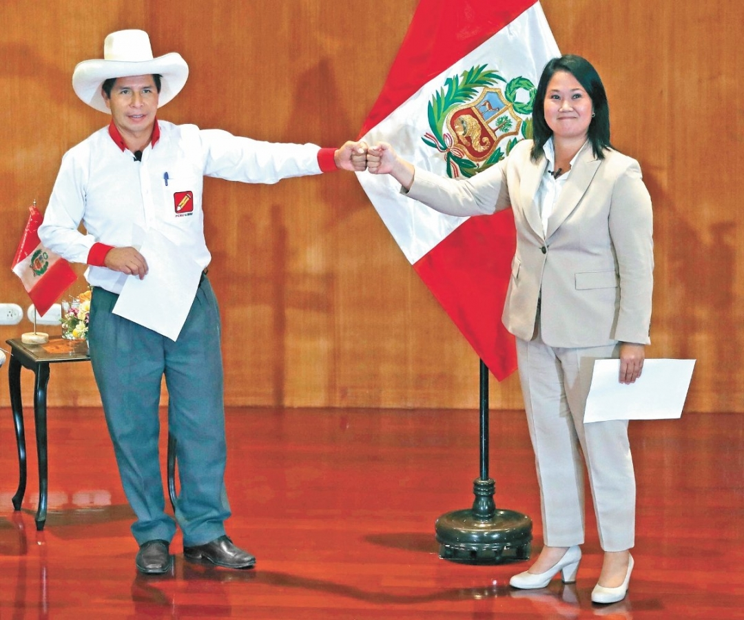 Empate técnico entre candidata de derecha Keiko Fujimori y su oponente de izquierda Pedro Castillo  resultados a boca de urna del balotaje presidencial