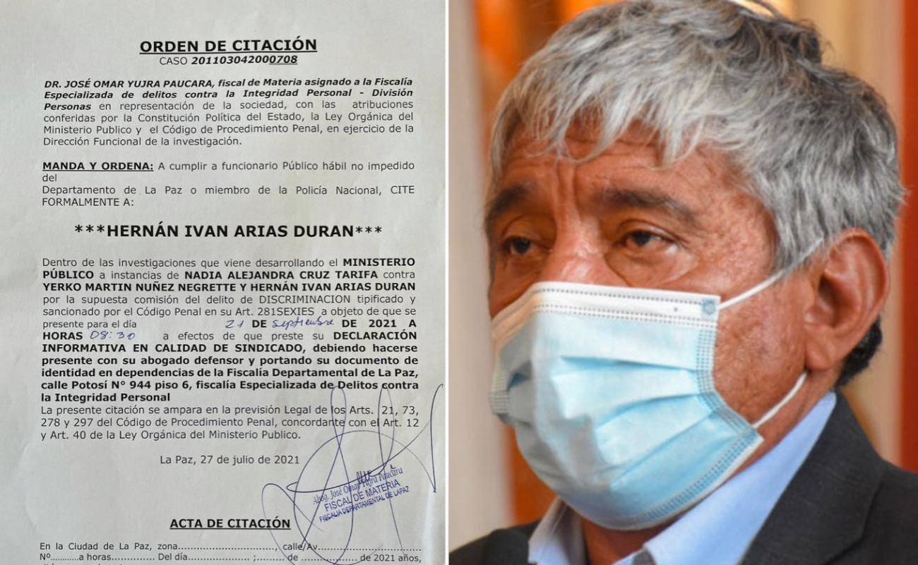 Fiscalía citó a Iván Arias a declarar como sindicado por denuncia de la Defensoría, donde se lo acusa de  discriminación a César Dockweiler